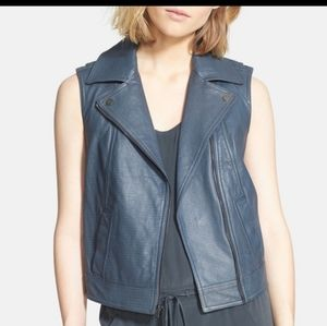 NWT Vince Leather Vest Gray Medium New